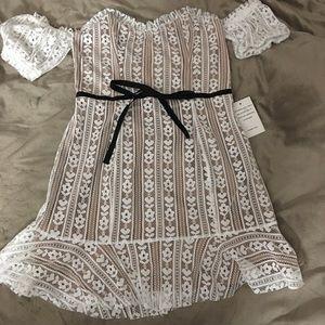 Lace off the shoulder mini dress